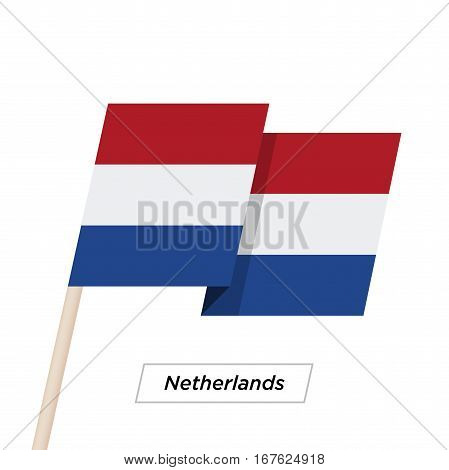 Netherlands Ribbon Waving Flag Isolated on White. Vector Illustration. Netherlands Flag with Sharp Corners