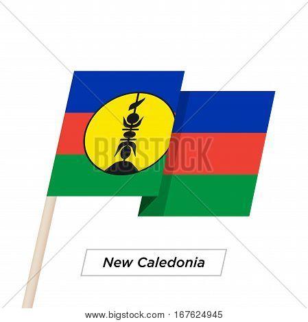 New Caledonia Ribbon Waving Flag Isolated on White. Vector Illustration. New Caledonia Flag with Sharp Corners