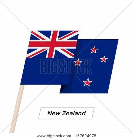 New Zealand Ribbon Waving Flag Isolated on White. Vector Illustration. New Zealand Flag with Sharp Corners