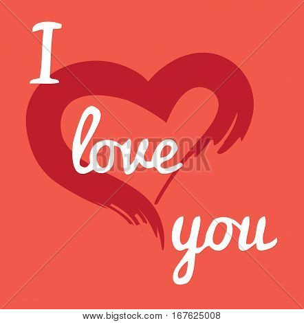 vector illustration of valentine card with red heart and love you text