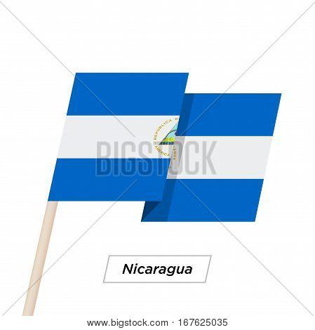 Nicaragua Ribbon Waving Flag Isolated on White. Vector Illustration. Nicaragua Flag with Sharp Corners