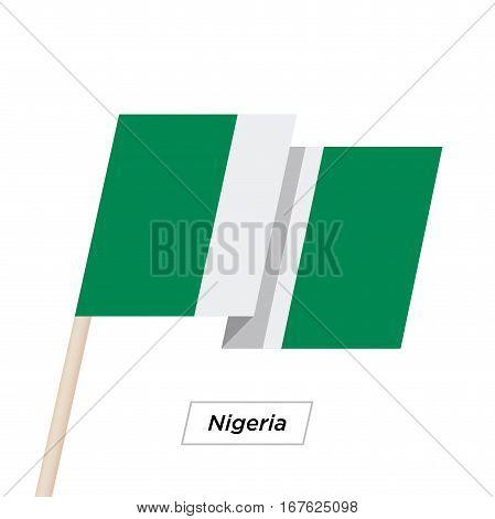 Nigeria Ribbon Waving Flag Isolated on White. Vector Illustration. Nigeria Flag with Sharp Corners