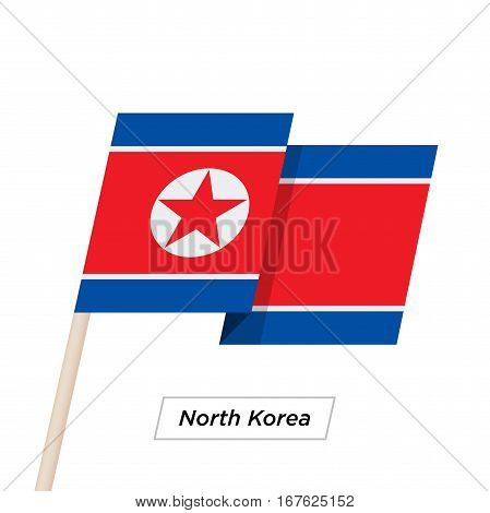 North Korea Ribbon Waving Flag Isolated on White. Vector Illustration. North Korea Flag with Sharp Corners