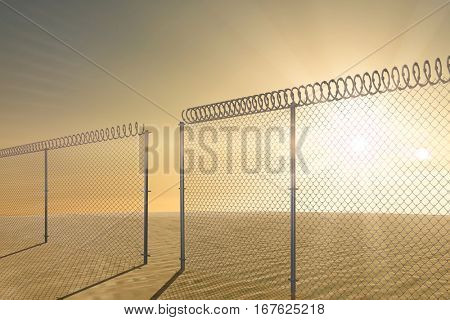 Chainlink fence against white background against desert scene 3d