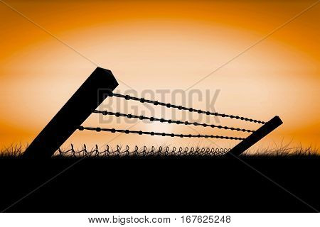 Bended barbed wire and chainlink fence against white background against sunrise 3d
