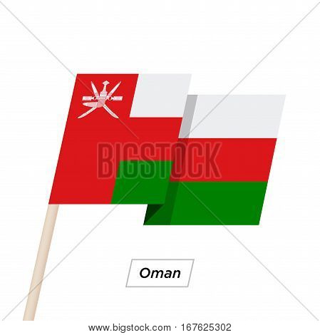 Oman Ribbon Waving Flag Isolated on White. Vector Illustration. Oman Flag with Sharp Corners