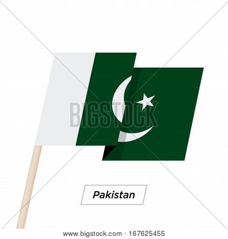Pakistan Ribbon Waving Flag Isolated on White. Vector Illustration. Pakistan Flag with Sharp Corners