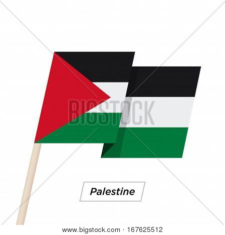 Palestine Ribbon Waving Flag Isolated on White. Vector Illustration. Palestine Flag with Sharp Corners