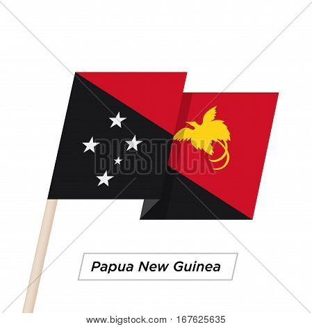 Papua New Guinea Ribbon Waving Flag Isolated on White. Vector Illustration. Papua New Guinea Flag with Sharp Corners