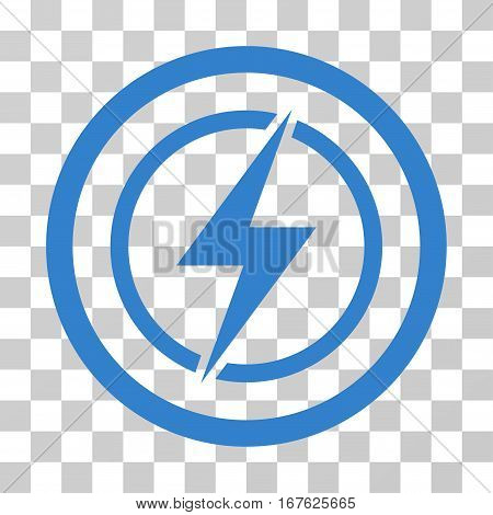 Electrical Hazard rounded icon. Vector illustration style is flat iconic symbol inside a circle cobalt color transparent background. Designed for web and software interfaces.