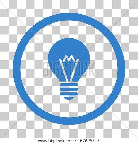 Hint Bulb rounded icon. Vector illustration style is flat iconic symbol inside a circle cobalt color transparent background. Designed for web and software interfaces.