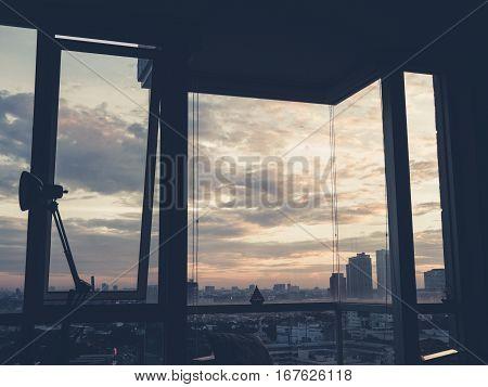 Cityscape From Condo Room.