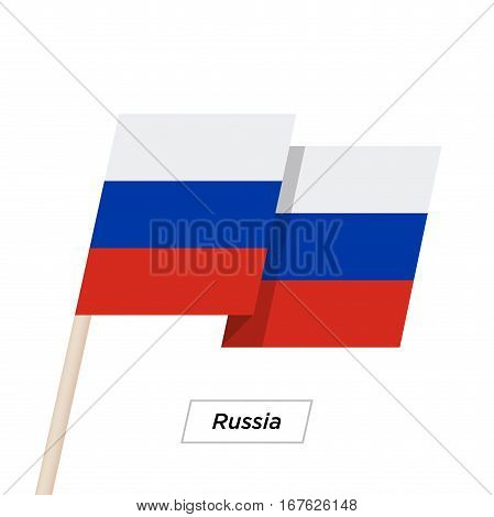 Russia Ribbon Waving Flag Isolated on White. Vector Illustration. Russia Flag with Sharp Corners