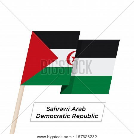 Sahrawi Arab Democratic Repablic Ribbon Waving Flag Isolated on White. Vector Illustration. Sahrawi Arab Democratic Repablic Flag with Sharp Corners