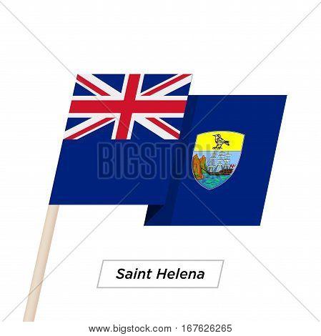 Saint Helena Ribbon Waving Flag Isolated on White. Vector Illustration. Saint Helena Flag with Sharp Corners