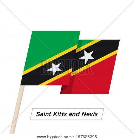 Saint Kitts and Nevis Ribbon Waving Flag Isolated on White. Vector Illustration. Saint Kitts and Nevis Flag with Sharp Corners