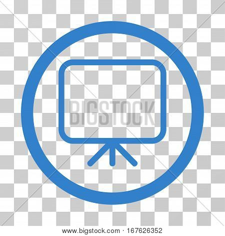 Presentation Screen rounded icon. Vector illustration style is flat iconic symbol inside a circle cobalt color transparent background. Designed for web and software interfaces.