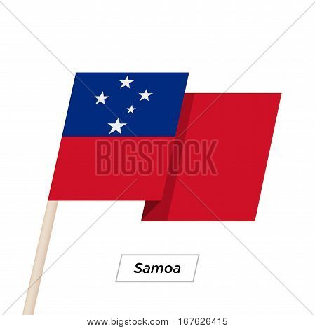 Samoa Ribbon Waving Flag Isolated on White. Vector Illustration. Samoa Flag with Sharp Corners
