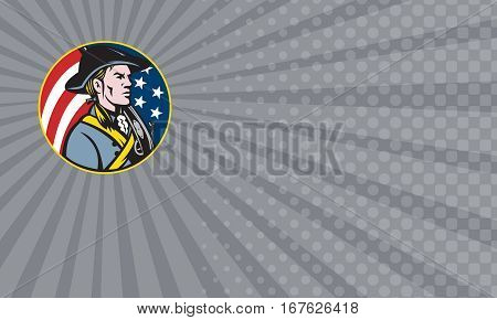 Business card showing Illustration of an American patriot minuteman revolutionary soldier with musket rifle and stars and stripes flag set inside circle done in retro style.