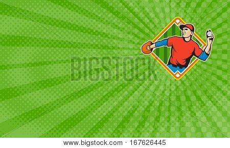 Business card showing Illustration of a american baseball player outfielder throwing ball isolated on white background set inside diamond field shape.