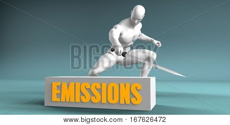 Cutting Emissions and Cut or Reduce Concept 3D Illustration Render