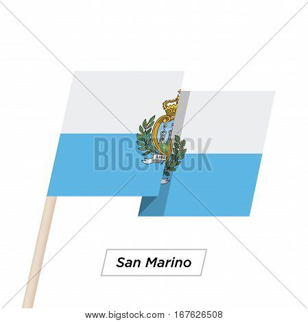 San Marino Ribbon Waving Flag Isolated on White. Vector Illustration. San Marino Flag with Sharp Corners