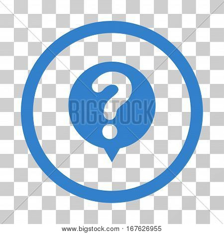 Status Query rounded icon. Vector illustration style is flat iconic symbol inside a circle cobalt color transparent background. Designed for web and software interfaces.