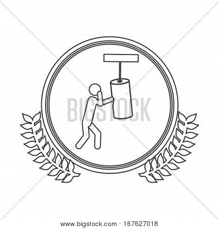 monochrome silhouette circle with decorative olive branch and man knocking bag weight vector illustration