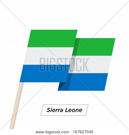 Sierra Leone Ribbon Waving Flag Isolated on White. Vector Illustration. Sierra Leone Flag with Sharp Corners
