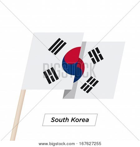 South Korea Ribbon Waving Flag Isolated on White. Vector Illustration. South Korea Flag with Sharp Corners