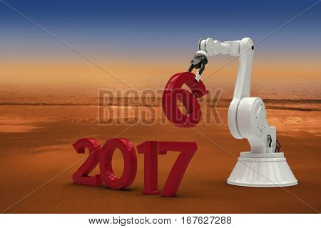 Digitally generated image of 3d robotic hand holding red number against hazy blue sky