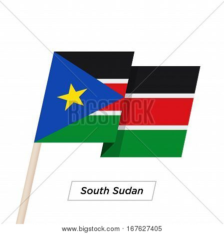 South Sudan Ribbon Waving Flag Isolated on White. Vector Illustration. South Sudan Flag with Sharp Corners