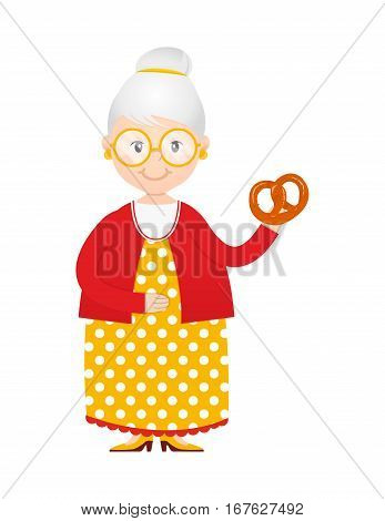 Vector cartoon grandma with cakes in hand