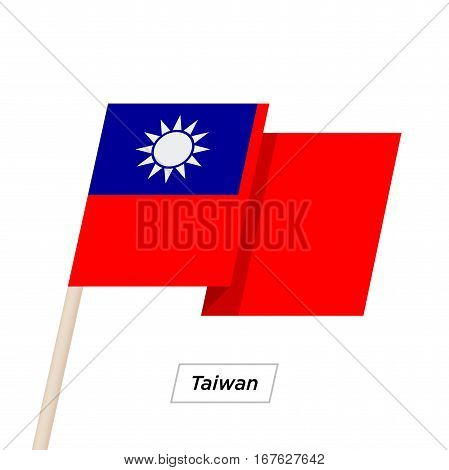 Taiwan Ribbon Waving Flag Isolated on White. Vector Illustration. Taiwan Flag with Sharp Corners