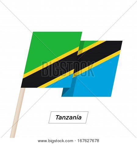 Tanzania Ribbon Waving Flag Isolated on White. Vector Illustration. Tanzania Flag with Sharp Corners