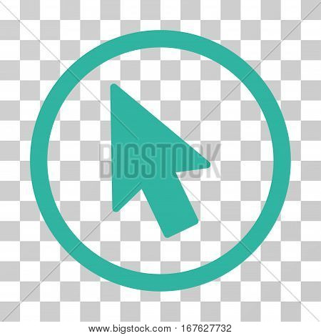 Mouse Pointer rounded icon. Vector illustration style is flat iconic symbol inside a circle cyan color transparent background. Designed for web and software interfaces.