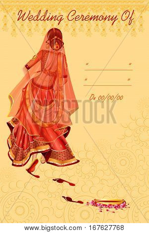 Vector design of Indian woman bride in Griha Pravesh wedding ceremony of India