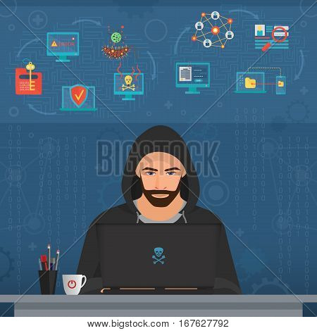 Hacker man hacking secret data on the laptop. Icon set. Modern transperance flat vector illustration