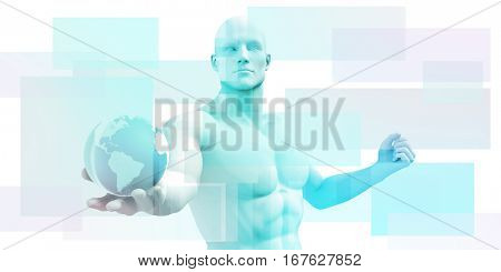 Technology Background with Clean Simple Lines as Art 3D Illustration Render