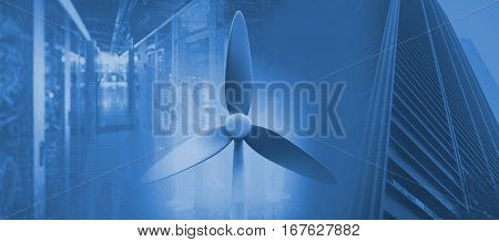 Wind mill against view of data technology 3d