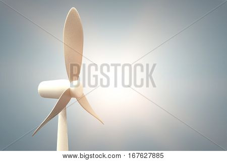 Vector image of wind mill against grey vignette 3d