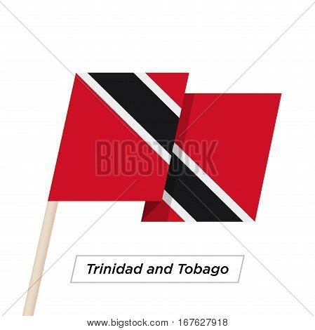 Trinidad and Tobago Ribbon Waving Flag Isolated on White. Vector Illustration. Trinidad and Tobago Flag with Sharp Corners