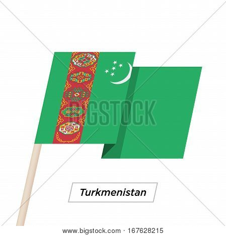 Turkmenistan Ribbon Waving Flag Isolated on White. Vector Illustration. Turkmenistan Flag with Sharp Corners