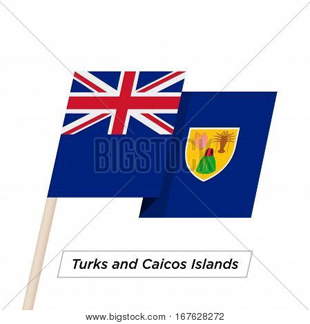 Turks and Caicos Islands Ribbon Waving Flag Isolated on White. Vector Illustration. Turks and Caicos Islands Flag with Sharp Corners