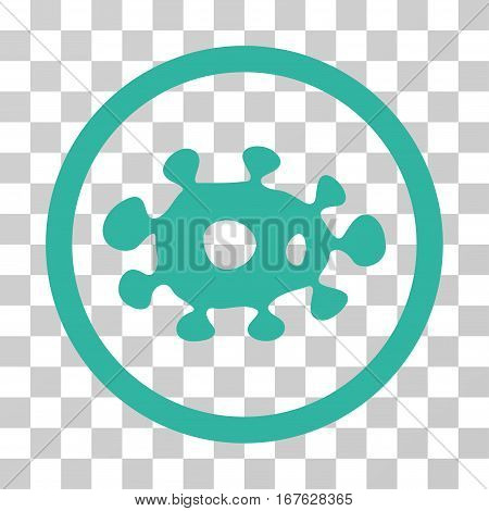 Virus rounded icon. Vector illustration style is flat iconic symbol inside a circle cyan color transparent background. Designed for web and software interfaces.