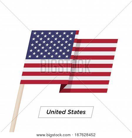 United States Ribbon Waving Flag Isolated on White. Vector Illustration. United States Flag with Sharp Corners