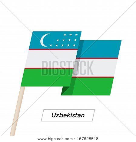 Uzbekistan Ribbon Waving Flag Isolated on White. Vector Illustration. Uzbekistan Flag with Sharp Corners