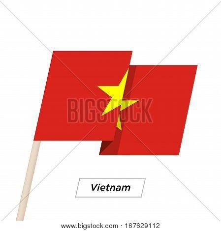 Vietnam Ribbon Waving Flag Isolated on White. Vector Illustration. Vietnam Flag with Sharp Corners