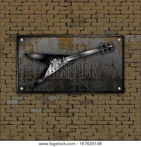 Realistic old brick wall with rusty metal sheet, screwed on the bolts and an electric guitar. There is a place for a picture or text in any color.