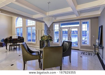 Luxury Home Interior Features Dining Space With Coffered Ceiling